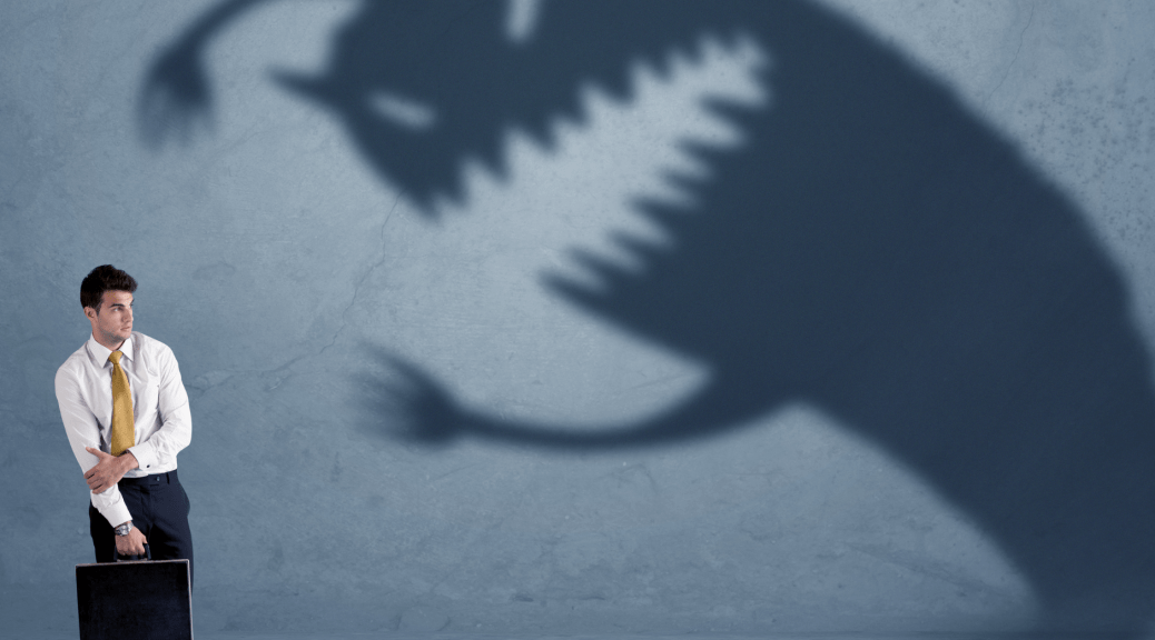 Man afraid of scary shadow is meant to illustrate the hypervigilance the article is about