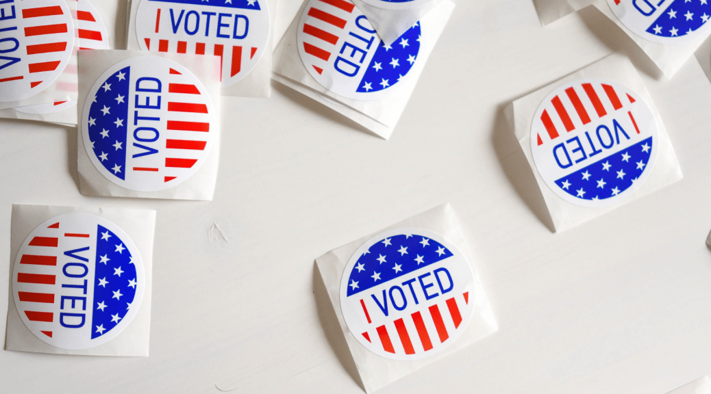 Picture of I voted stickers introducing an article on the rhetoric of vote-counting