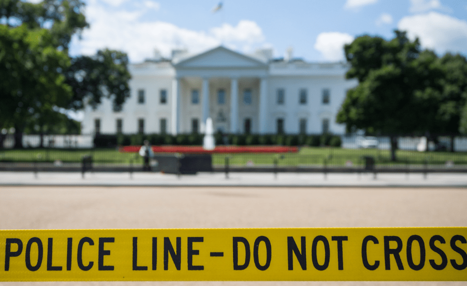 "picture of police tape in front of the White House to introduce an article on why we ought be careful about saying ""Not My Christianity"" after the attempted coup"