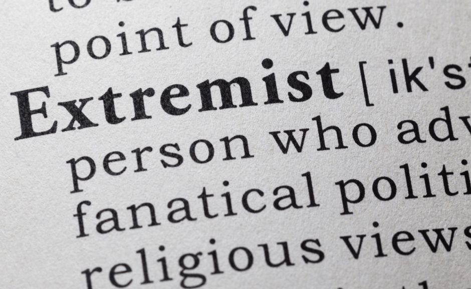 A picture of the dictionary definition of the word extremist to introduce an article on Mark Driscoll and confronting extreme Christianity
