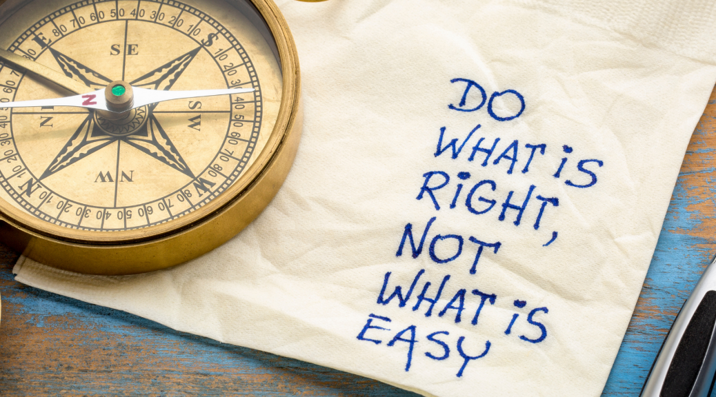 "compass and napkin with the words ""Do what is right, not what is easy"" calling white Evangelicals to do the right thing regarding the death of RBG"